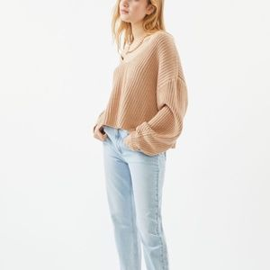 Urban Outfitters Avery Double V-Neck Beige Sweater